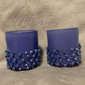 🌸 Decorative Blue Beaded Votive Candle Holder 🌸